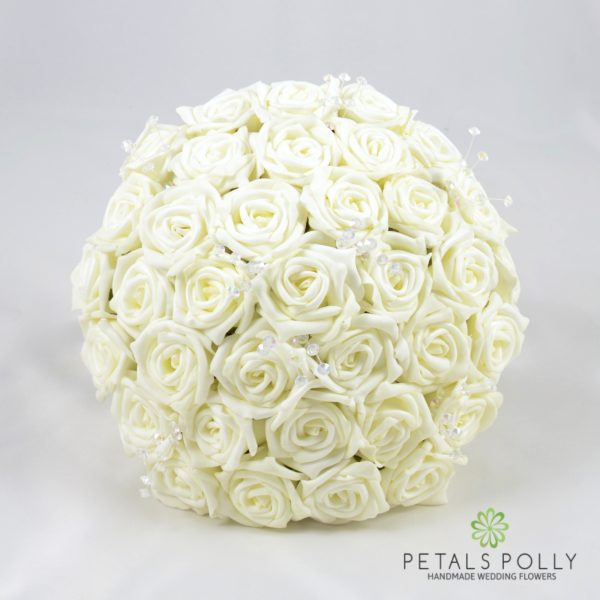 Ivory Foam Rose Brides Posy with Crystal Stems