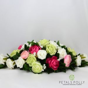 pink pistachio white artificial top table decoration arrangement