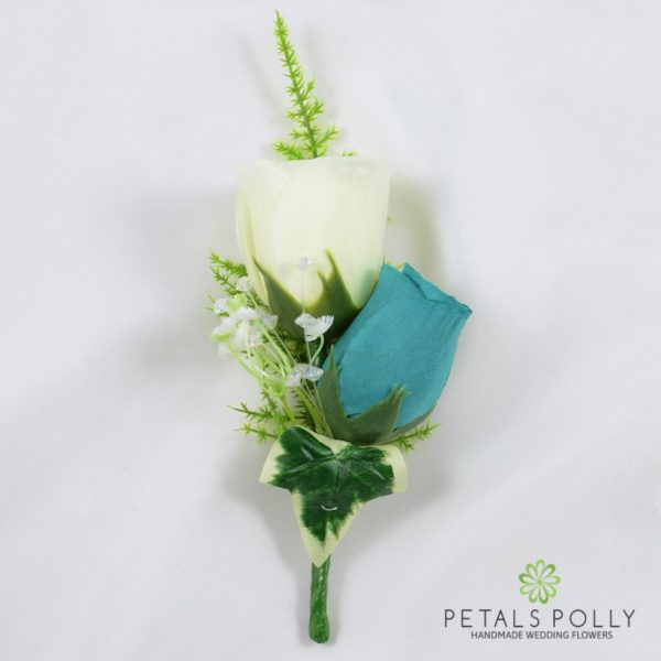 Teal & Ivory Double Rose Buttonhole