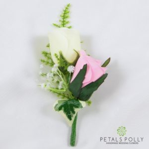 baby pink and ivory silk double rose buttonhole