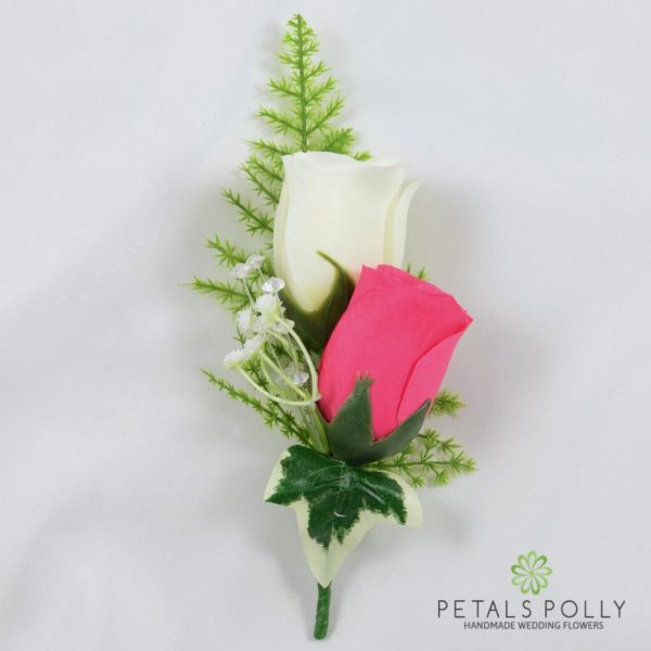 Hot Pink & Ivory Double Rose Buttonhole