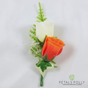 orange and ivory silk double rose buttonhole
