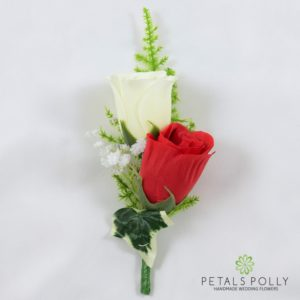 red and ivory silk double rose buttonhole