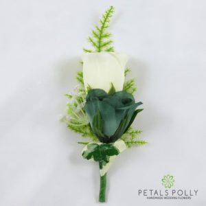 sage green and ivory silk double rose buttonhole