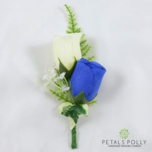 royal blue and ivory silk double rose buttonhole