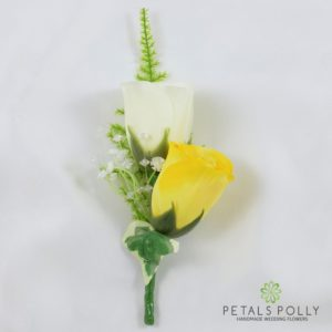 yellow and ivory silk double rose buttonhole