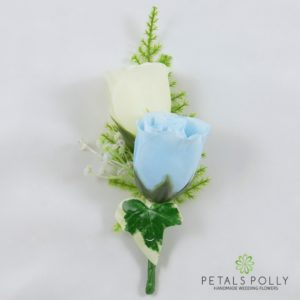 baby blue and ivory silk double rose buttonhole
