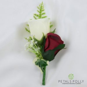 burgundy and ivory silk double rose buttonhole