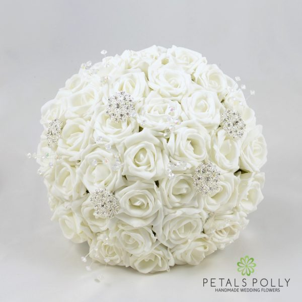 White Rose Brides Posy with Diamanté Brooches