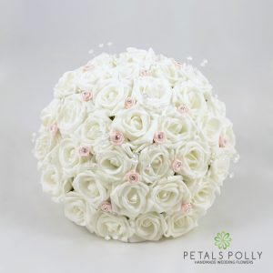 white and baby pink foam rose brides bouquet