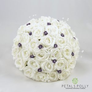 lavender and white foam rose brides bouquet