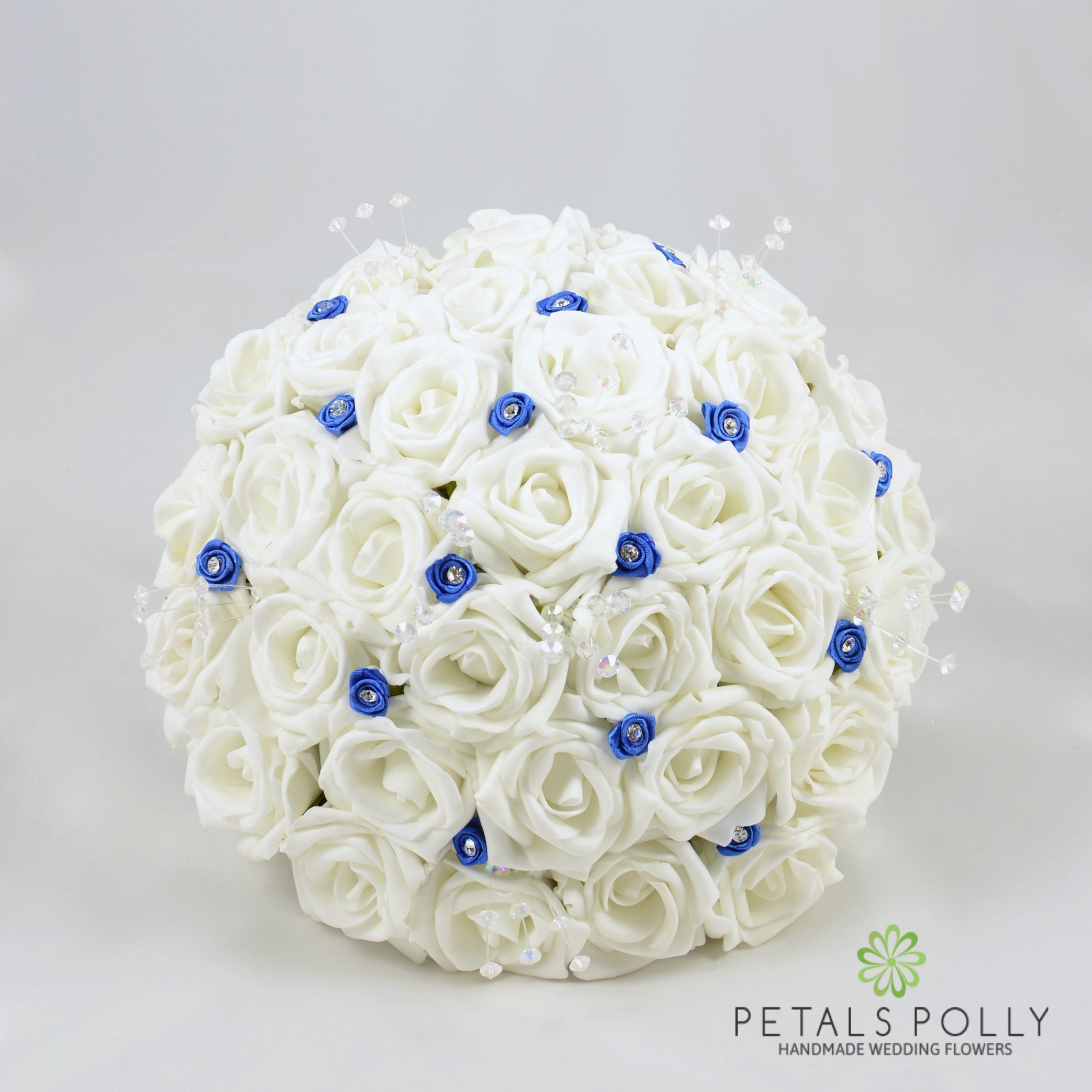 White Rose Brides Posy With Royal Blue Diamante Ribbon Roses And Crystal Stems