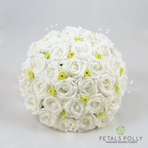 lime and white foam rose brides bouquet