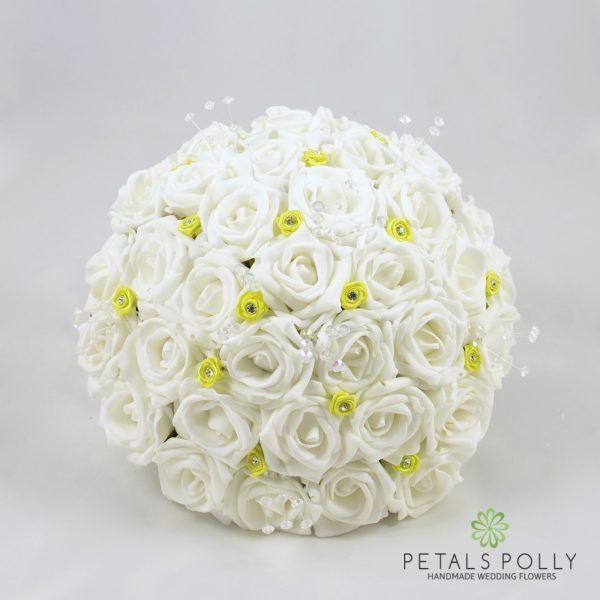 White Rose Brides Posy with Baby Pink Diamanté Ribbon Roses and Crystal Stems