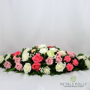 Pink, Pistachio & White Rose with Ranunculus Top Table Decoration