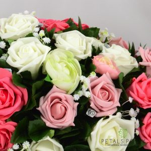 pink coral ivory rose top table decoration arrangement