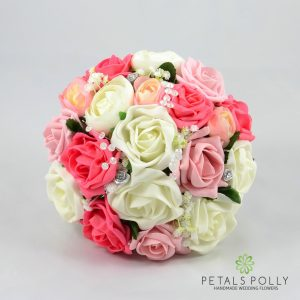 Antique Pink, Coral & Ivory Rose Bridesmaids Posy with Ranunculus
