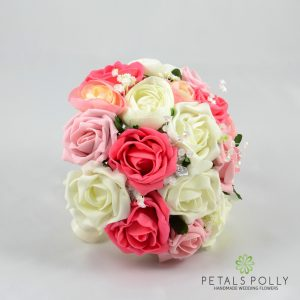 antique pink, coral and ivory artificial bridesmaids posy