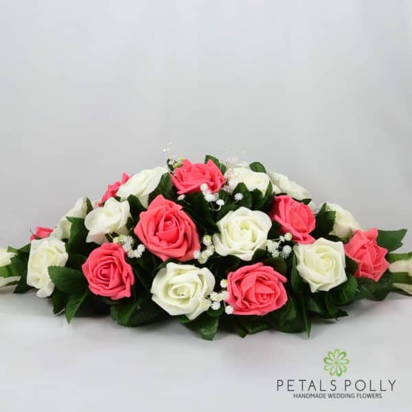 Coral & Ivory Foam Rose Top Table Decoration