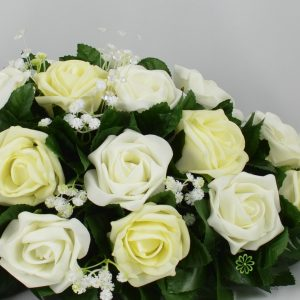 lemon ivory foam rose top table decoration