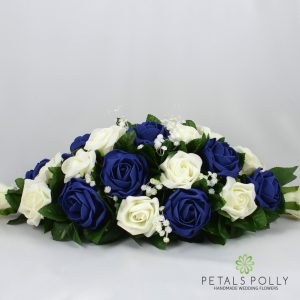navy blue ivory foam rose top table decoration