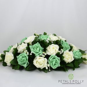 mint green ivory foam rose top table decoration