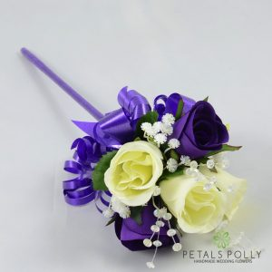 Silk purple and ivory rose flower girl wand