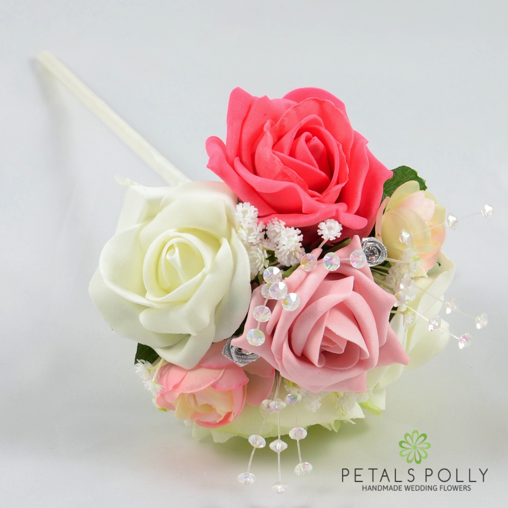 Antique Pink, Coral & Ivory Flower Girl Wand with Ranunculus -