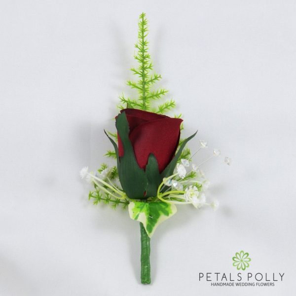 Burgundy Single Rose Buttonhole with Crystals, Ivy and Greenery
