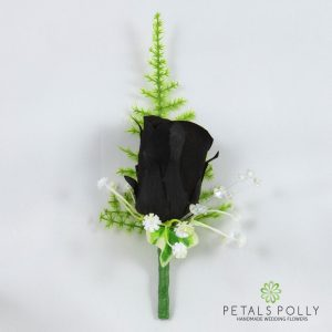 silk black rose buttonhole with ivy