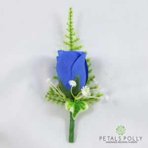 silk royal blue rose buttonhole with ivy