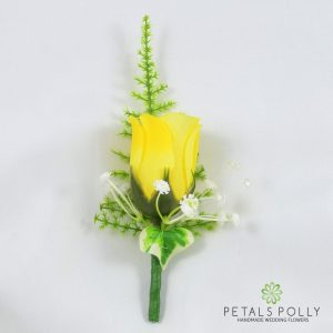 silk yellow rose buttonhole with ivy