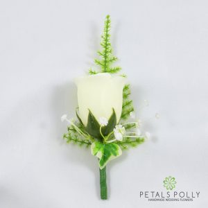 silk ivory cream rose buttonhole with ivy