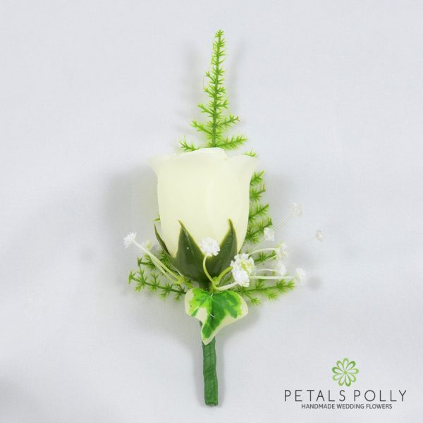 Ivory Single Rose Buttonhole with Crystals, Ivy and Greenery