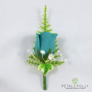 silk teal rose buttonhole with ivy
