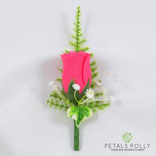Hot Pink Single Rose Buttonhole with Crystals, Ivy and Greenery