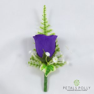 silk purple rose buttonhole with ivy