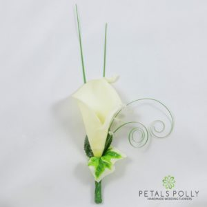 ivory real touch calla lily buttonhole corsage