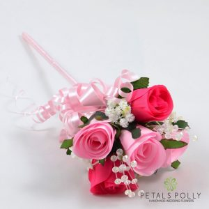 pink silk rose flower girl wand