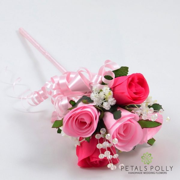 Baby Pink & Hot Pink Flower Girl Wand with Crystals