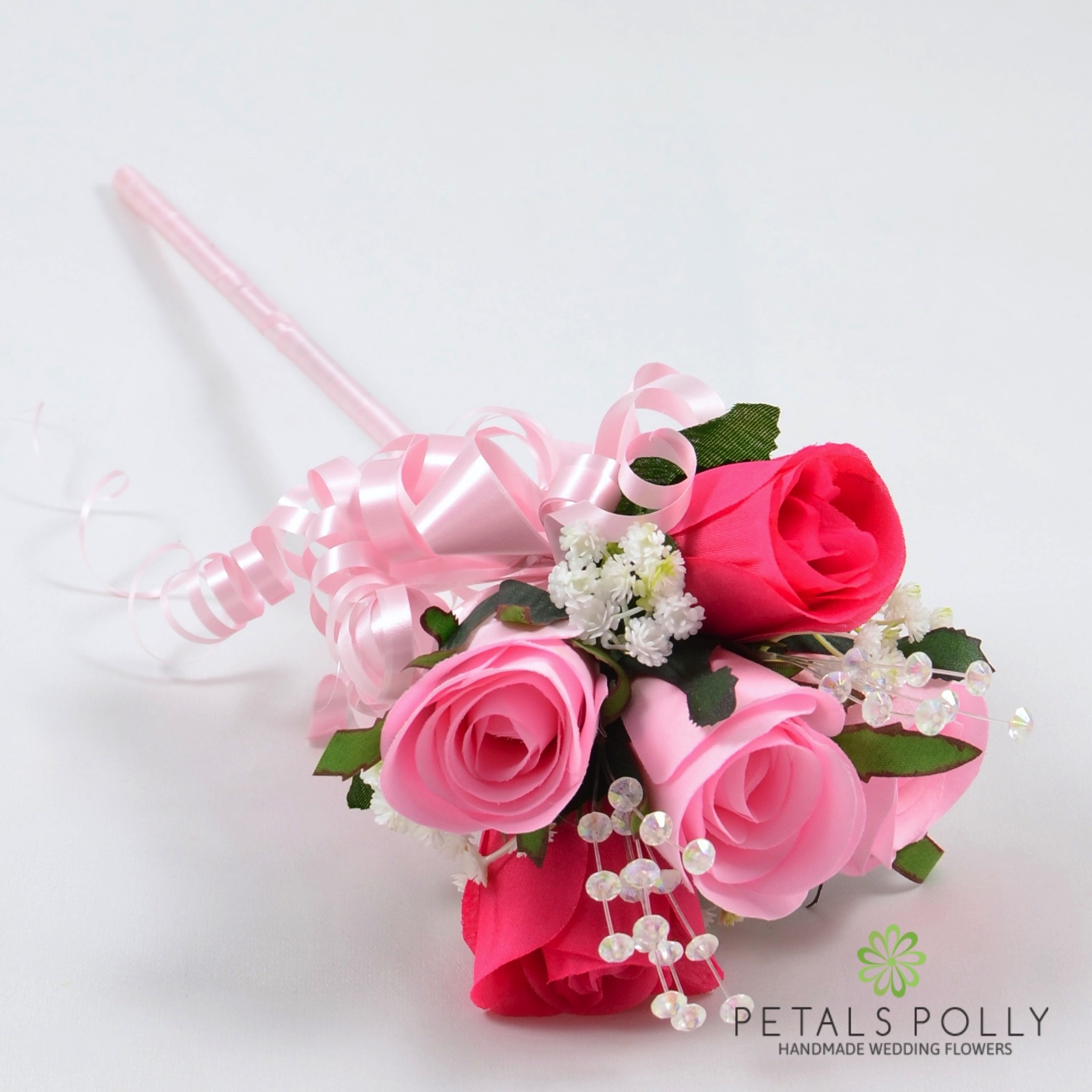 Baby Pink Hot Pink Flower Girl Wand With Crystals