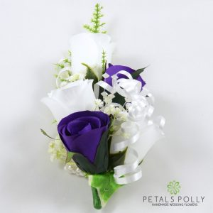 purple and white silk rose wrist corsage