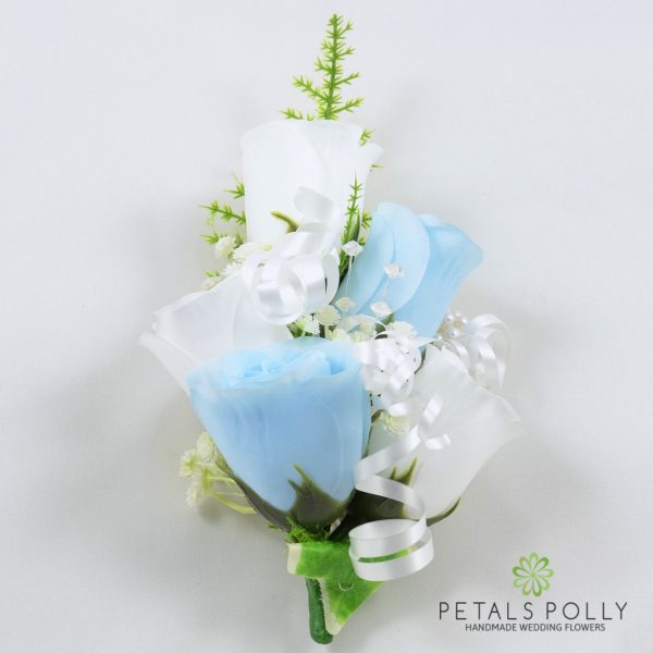 Baby Blue & White Rose Wrist Corsage with Crystals, Ivy and Greenery