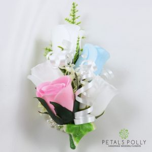 baby pink, baby blue and white silk rose wrist corsage