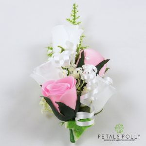 baby pink and white silk rose wrist corsage