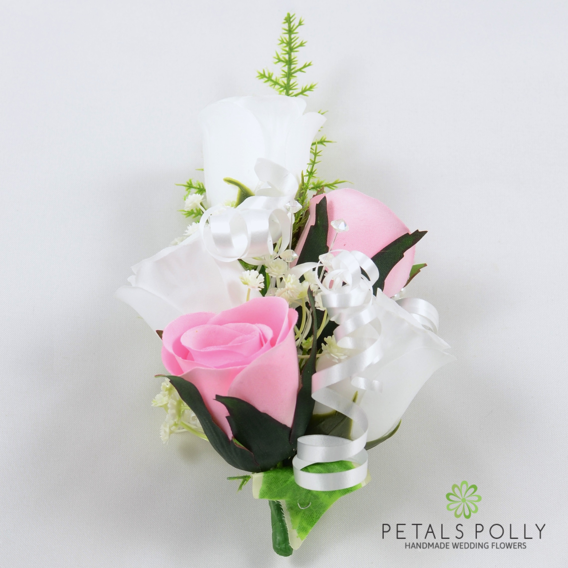Baby Pink White Rose Wrist Corsage With Crystals Ivy And Greenery