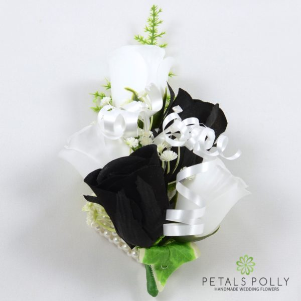 Black & White Rose with Greenery Package
