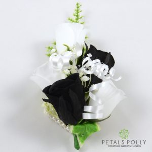 black and white silk rose wrist corsage