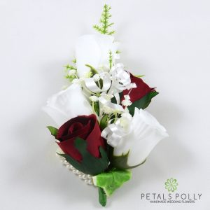 burgundy and white silk rose wrist corsage