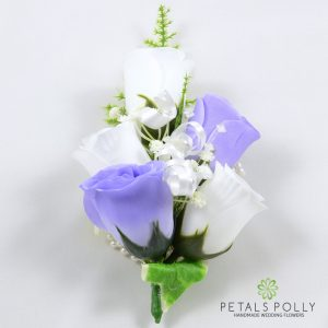 lilac and white silk rose wrist corsage